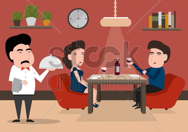 waiter serving a couple at restaurant vector graphic