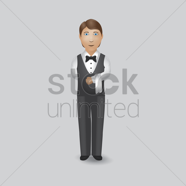 waiter welcoming someone vector graphic