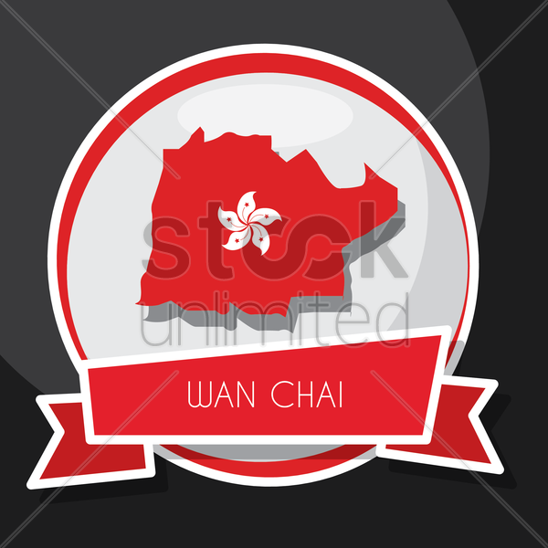 wan chai map vector graphic