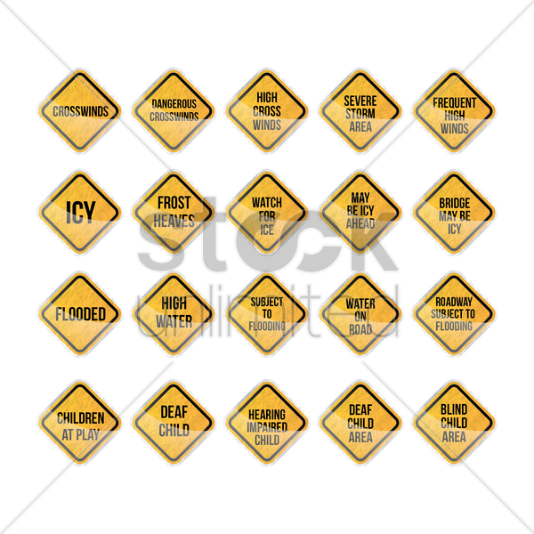 warning signs collection vector graphic