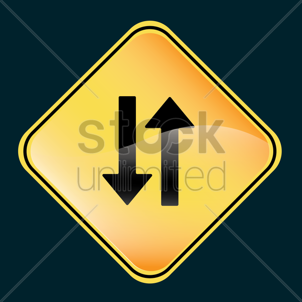 warning two-way road sign vector graphic