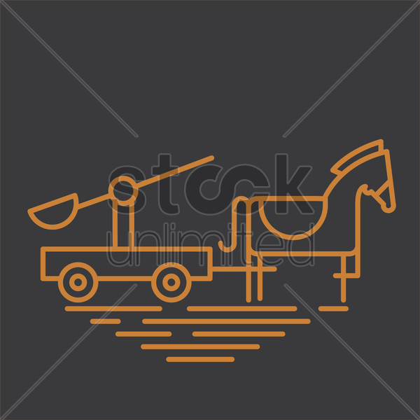 warrior on chariot vector graphic