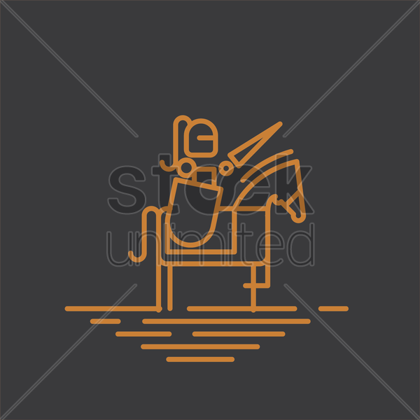 warrior on horseback vector graphic