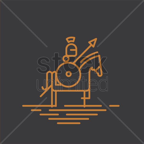 warrior with spear on horseback vector graphic