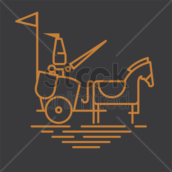 warrior with sword on chariot vector graphic