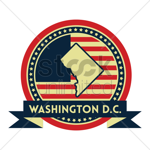Free washington d.c map label vector graphic
