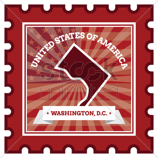 washington d.c postage stamp vector graphic