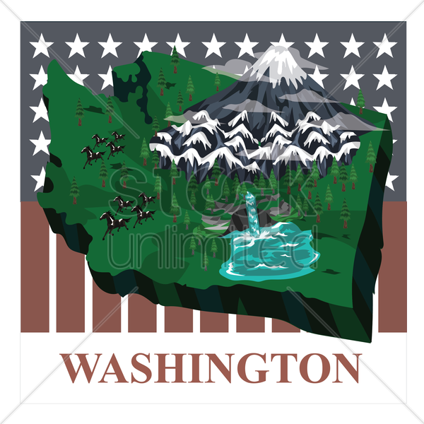 washington state map vector graphic