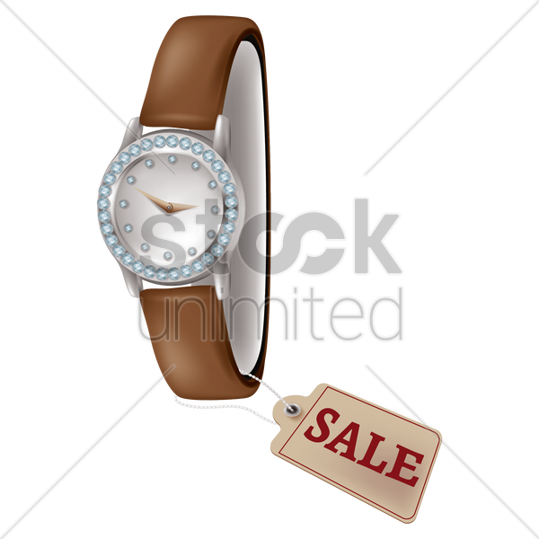 watch with sale tag vector graphic