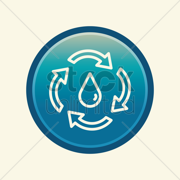 water drop with recycle symbol vector graphic