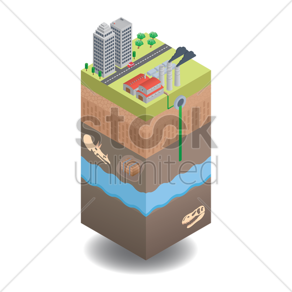 water pollution vector graphic