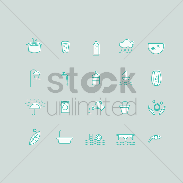 water related icons set vector graphic