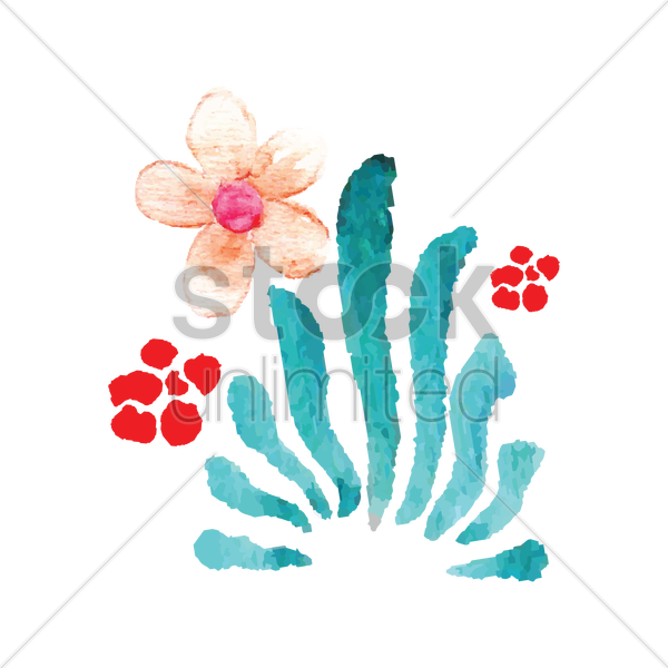 watercolor flowers vector graphic