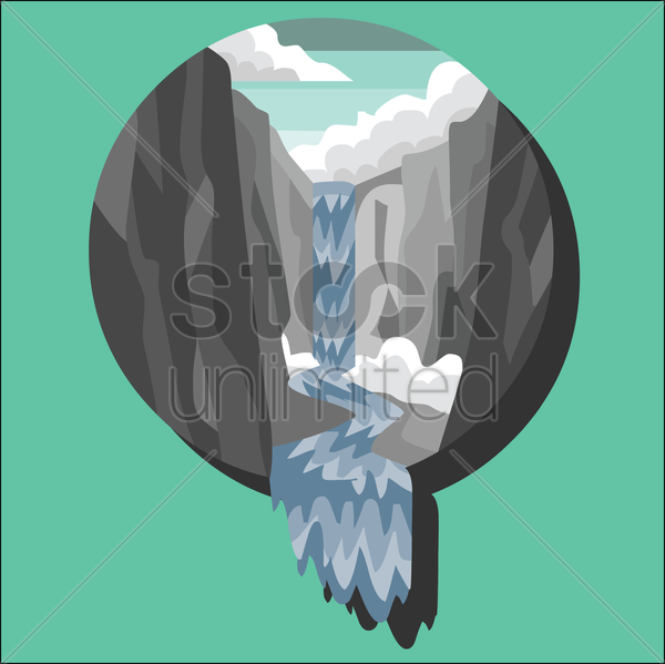 waterfall vector graphic