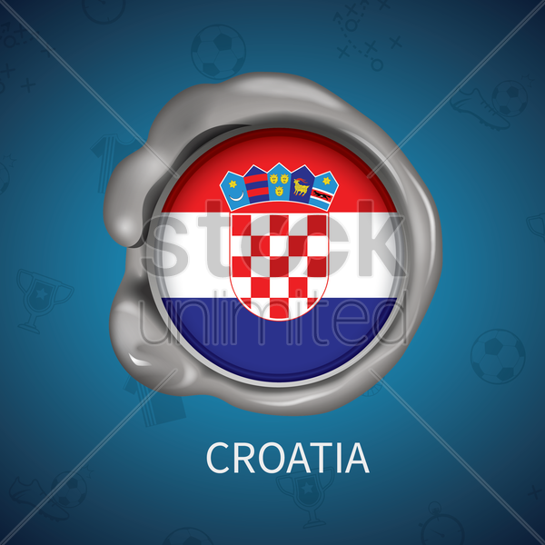 wax seal of croatia flag vector graphic