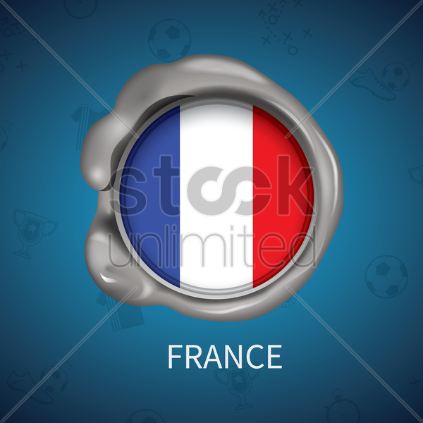 wax seal of france flag vector graphic