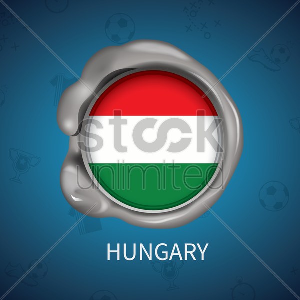 wax seal of hungary flag vector graphic