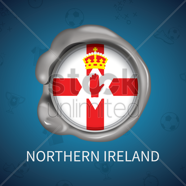 wax seal of northern ireland flag vector graphic