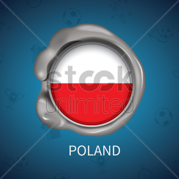 wax seal of poland flag vector graphic