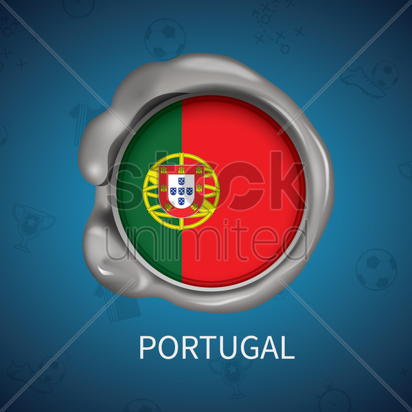 wax seal of portugal flag vector graphic