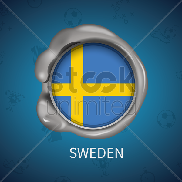 wax seal of sweden flag vector graphic