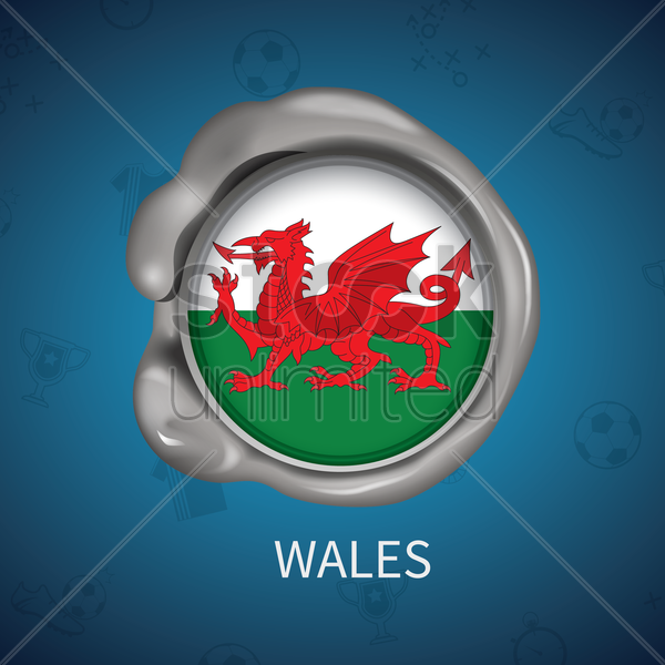 wax seal of wales flag vector graphic