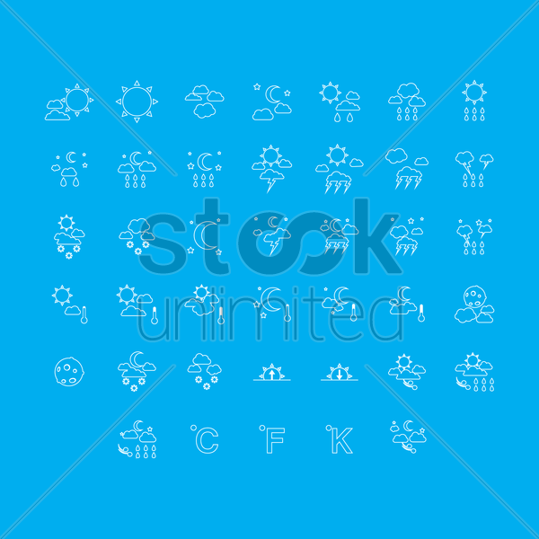 weather icon set vector graphic