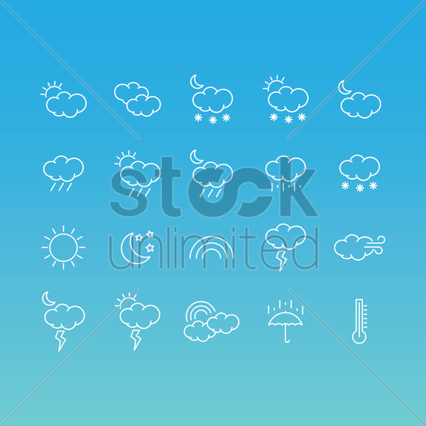 weather icons set vector graphic