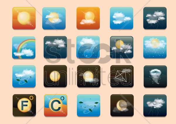 weather type icon sets vector graphic