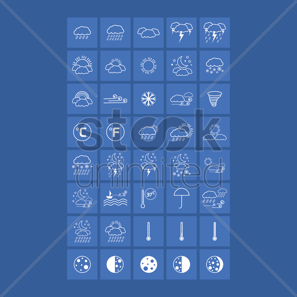 Free weather types collection set vector graphic