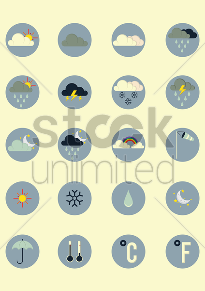 weather types icon set vector graphic