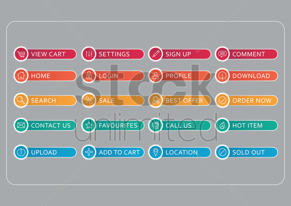web buttons set vector graphic