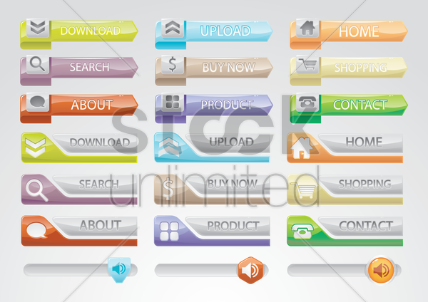web interface buttons vector graphic