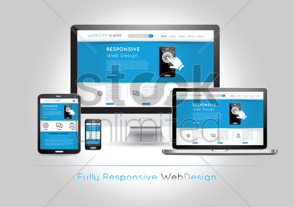 web pages on smart devices vector graphic