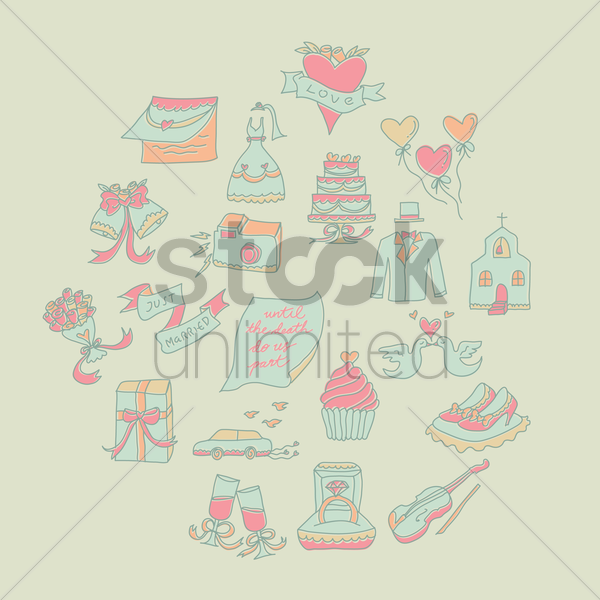 wedding articles vector graphic