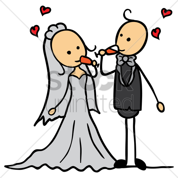 wedding couple drinking from their glass of wine vector graphic