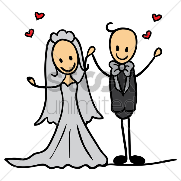 wedding couple holding hands vector graphic