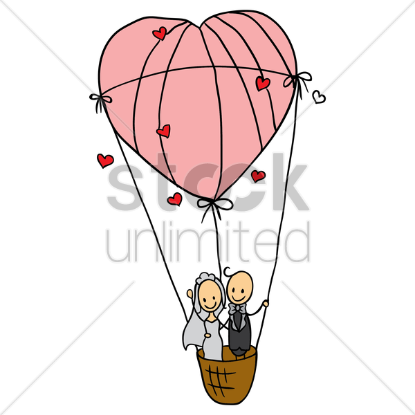 wedding couple in a heart shaped air balloon vector graphic