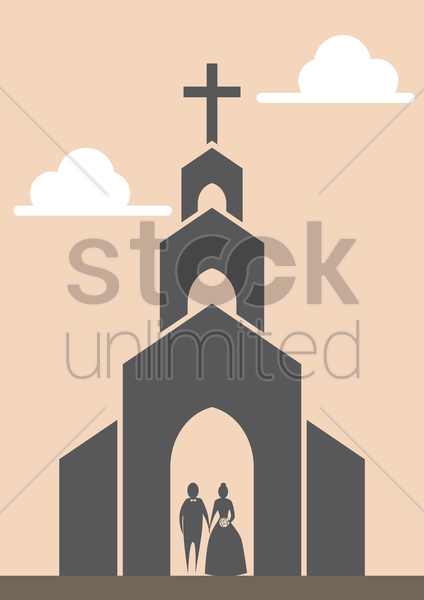 wedding couple in church vector graphic