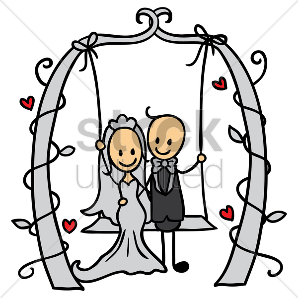wedding couple on a swing vector graphic