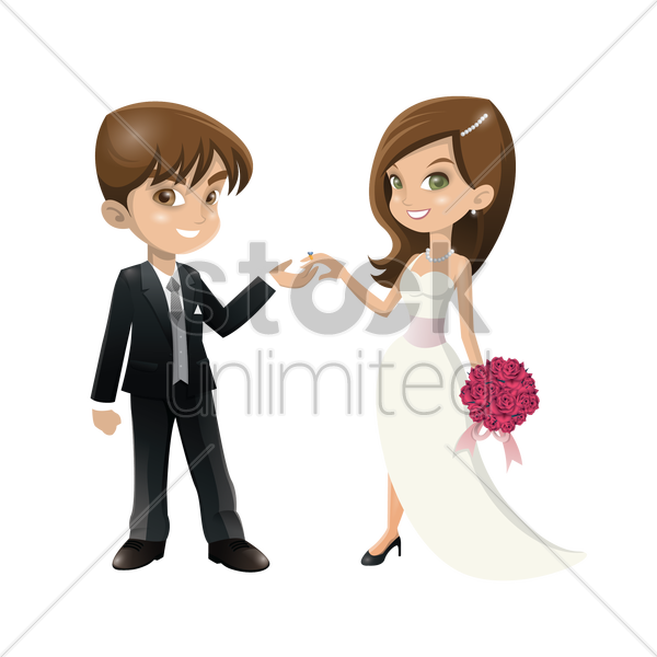 wedding couple vector graphic