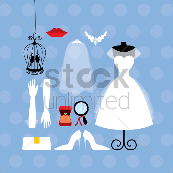 wedding gown and accessories collection vector graphic