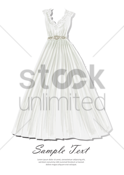 wedding gown with sample text vector graphic
