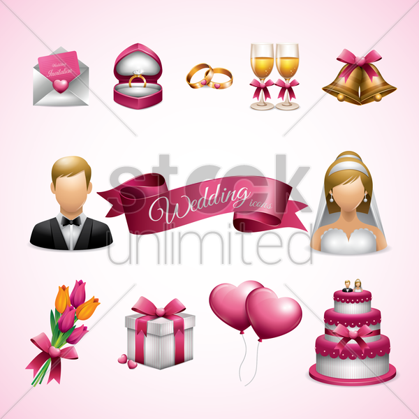 wedding icons set vector graphic