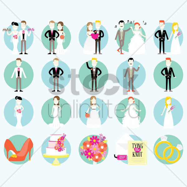 wedding icons vector graphic