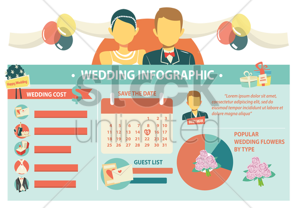 wedding infographic vector graphic