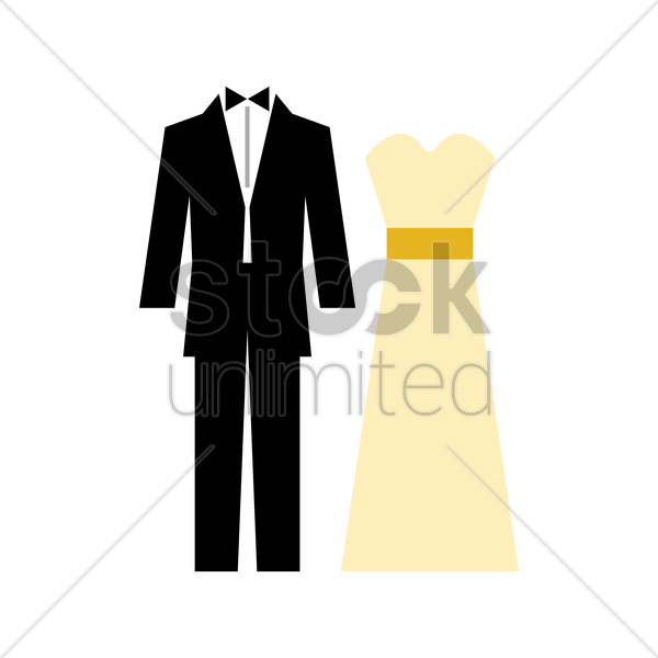 wedding outfits for bride and groom vector graphic
