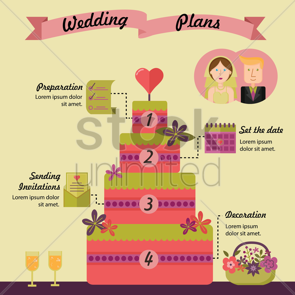 wedding plans infographic vector graphic