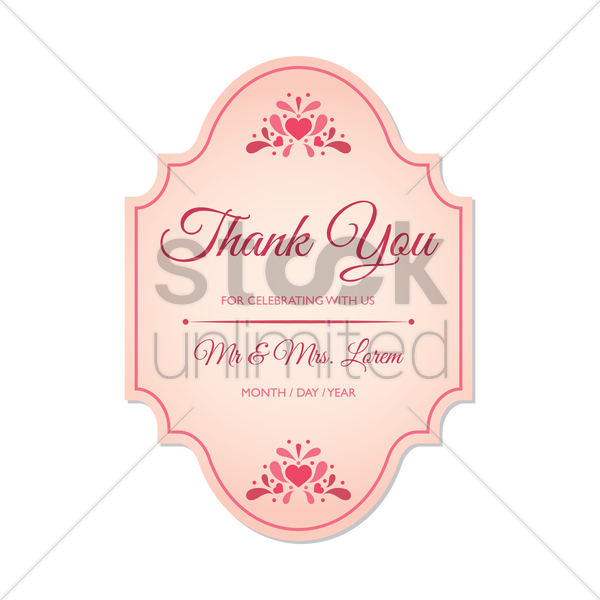 wedding thank you card vector graphic