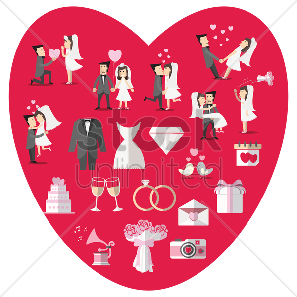 wedding theme articles vector graphic